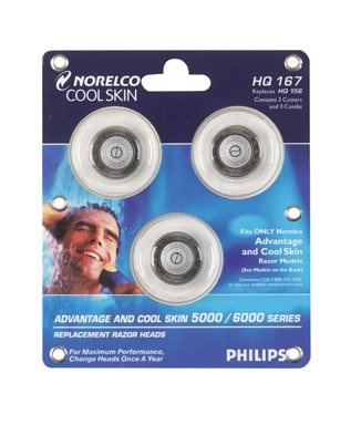 Philips Norelco HQ167 Advantage & Cool Skin Replacement Razor Heads ()