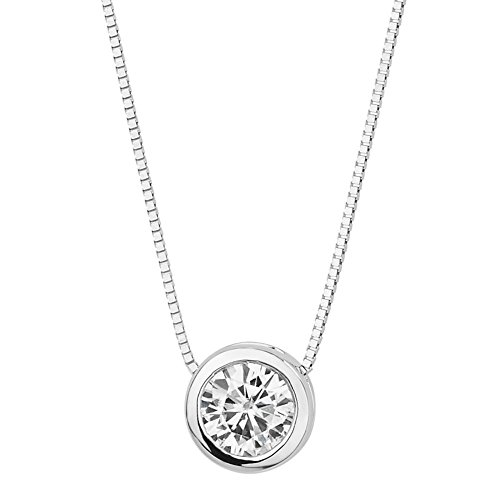(Forever Brilliant White Gold Round 5.0mm Moissanite Pendant Necklace, 0.50ct DEW by Charles & Colvard)