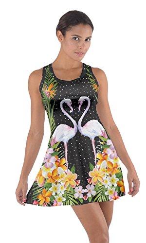 Cowcow Femmes Coton Été Flamants Roses Racerback Hawaii Robe Sombre