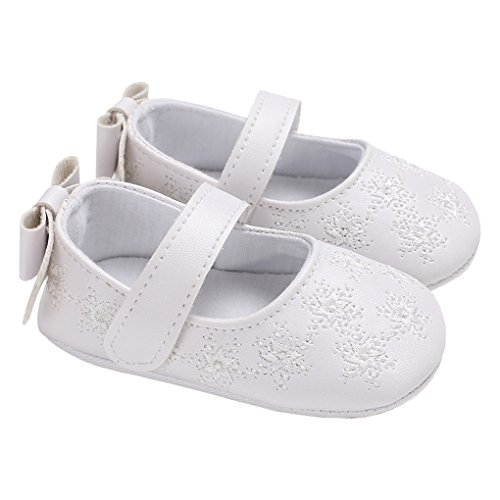 lakiolins Infant Girls Snowflake Mary Jane Flats Princess Dress Shoes Baby Crib Shoes with Bowknot White Size S