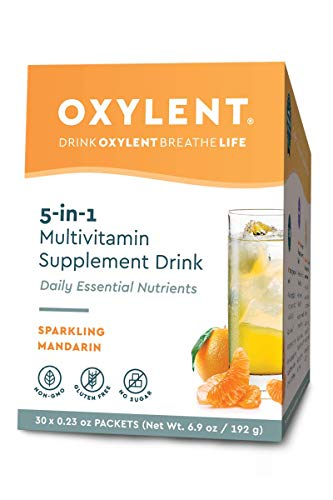 - Oxylent 5-in-1 Multivitamin Supplement Drink - Sugar-Free & Effervescent for Easy Absorption of Vitamins, Minerals, Electrolytes, Antioxidants, Sparkling Mandarin Flavor, 30 Count