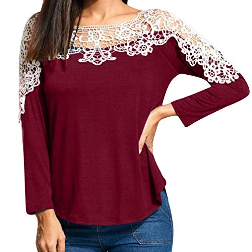 Realdo Womens Tops, Sexy Fashion Lace Off Shoulder Patchwork T-Shirt Long Sleeve Tunic Tops Blouse (X-Large,Red)