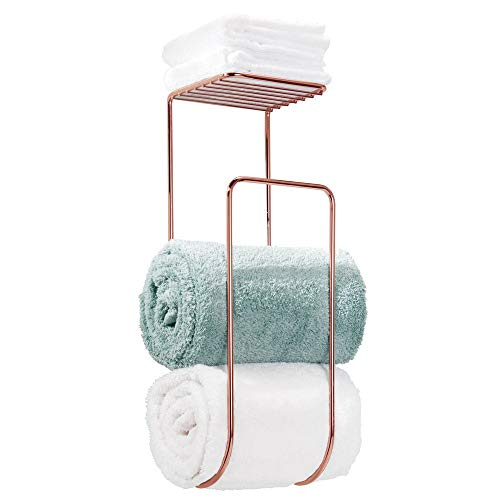 mDesign Modern Metal Wall Mount Towel Rack Holder and Organizer with Storage Shelf for Bathroom Organizing of Washcloths, Hand/Face or Bath Towels, Beach Towels - Rose Gold