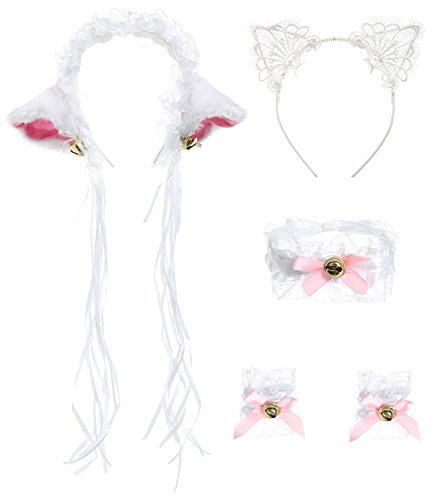 [JustinCostume Lace Cat Ears Headband Neckwear Bracelet Cosplay Set, White] (White Cat Costume For Women)