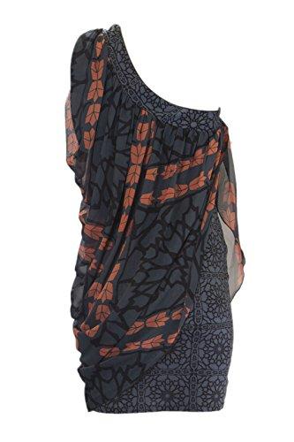 Imprimé Abstrait Gris Féminin Analili Une Robe Épaule A1299ae03 Gris
