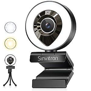 webカメラ Sinvitron LEDライト暖色&白色 三脚スタンド付き HD1080P マイク内蔵 200万画素