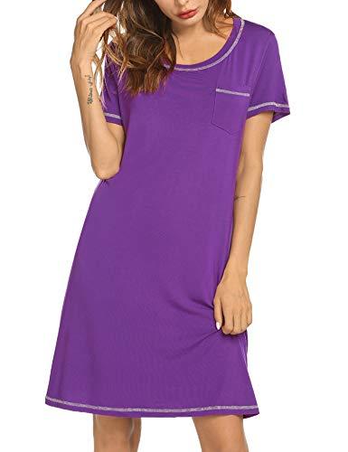 Solid Sleepshirt - Ekouaer Soft Nightdress Pregnant Women's Cotton Nightgown Casual Nights Sleepwear Short Sleeves Solid Sleepshirt (Purple, X-Large)
