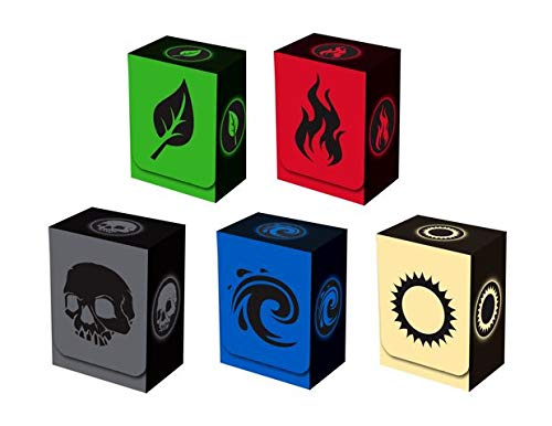 Green Deck Pokemon - Set of 5 New Legion Absolute Deck Boxes for Magic/Pokemon/YuGiOh Cards (Incl. Red, Blue, Green, Black and White)