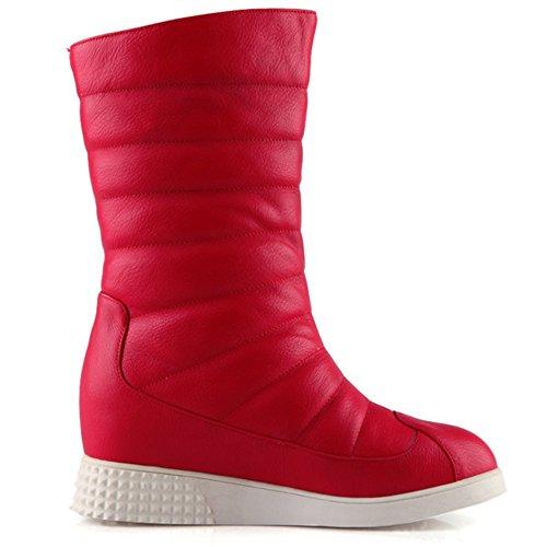 de tacón Botas para nieve para cuña LongFengMa mujer la rojas con 4HHSgqZx