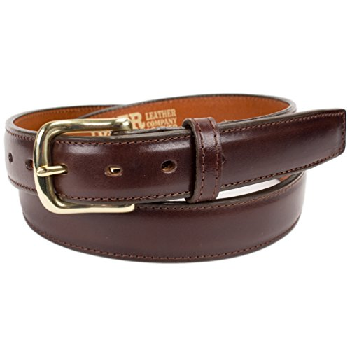 - Handmade Italian Leather Dress Belt (Size 38, Brown)