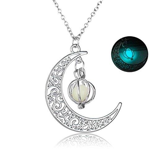 men beads moon pendant necklace pumpkin color 4 yellow gifts christmas light luminous light women night