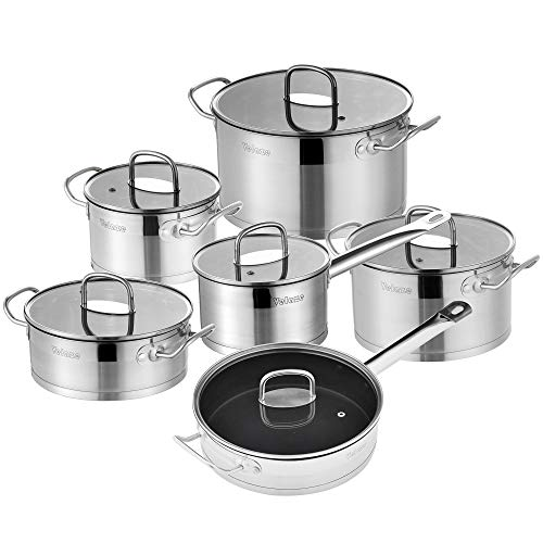 Velaze Cookware Set, Sauce Pots and Fry Pans Set, Stainless Steel Pans Set with Helper Handle, 12-Piece, Silver