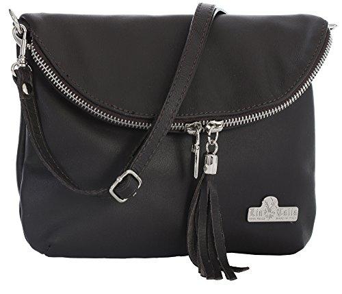 LIATALIA Small Body Bag Real Soft Messenger Cross Mini Coffee Italian Size Leather AMY Shoulder vprRqvw