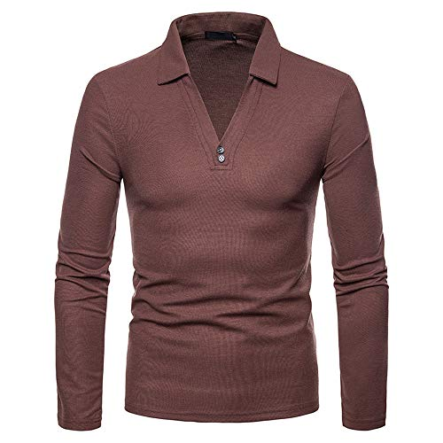 GREFER Men's Casual Autumn Winter Long Sleeve Solid Turn-down Collar Polo Shirt -