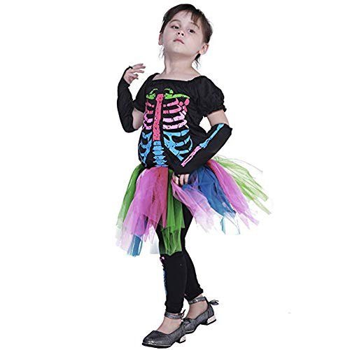 NQBRNG Girls Funky Punky Bones Halloween Costume Funny Cosplay Party Costume (L) Black]()