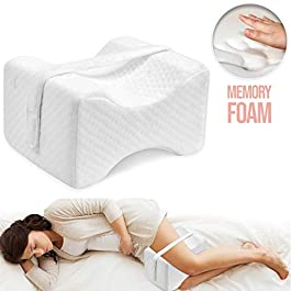 Knee Pillow Leg Positioner – Made from Memory Foam – Removable and Washable Cover – Promotes Better Sleep, Improve Blood Circulation & Proper Posture Alignment (Standard) (With Strap-1 Pack)