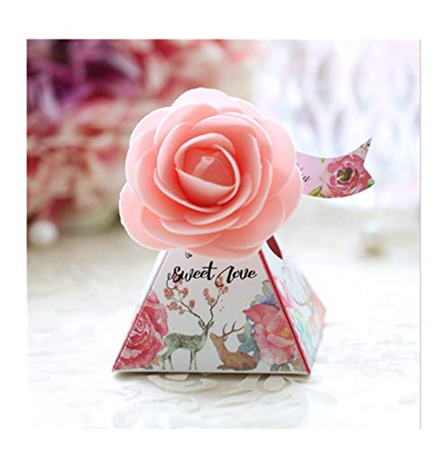 7.5X7.5X7.8 cm,New Wedding (Creative Flowers+Triangles) Pink Cake Candy Boxes, 30 (Triangle Favor Boxes)