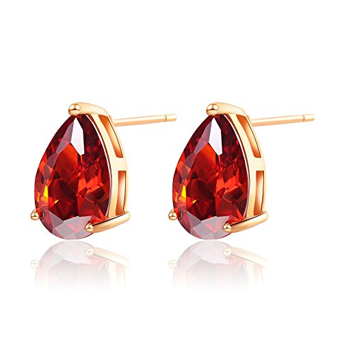 ailov Gold Plated Cubic Zirconia Stud Earrings for Women Vintage Teardrop Shaped (Red) (Moonstone Diamond Earrings)