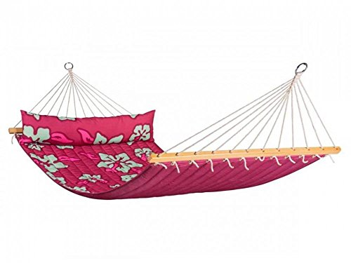 1950 Full Suspension - LA SIESTA Hawaii Hibiscus - Weather-Resistant Quilted Double Spreader Bar Hammock