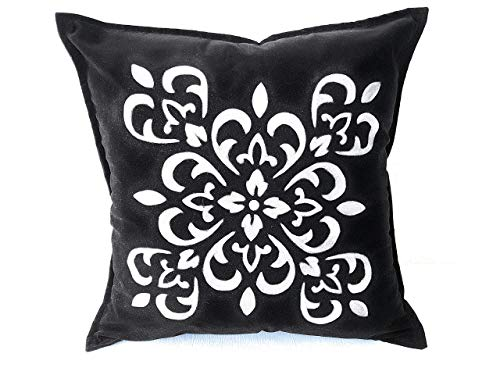(Black Suede Velvet Hand Made Painted Throw Pillow Cover Decorative Silver Damask Design 18x18 Inches)