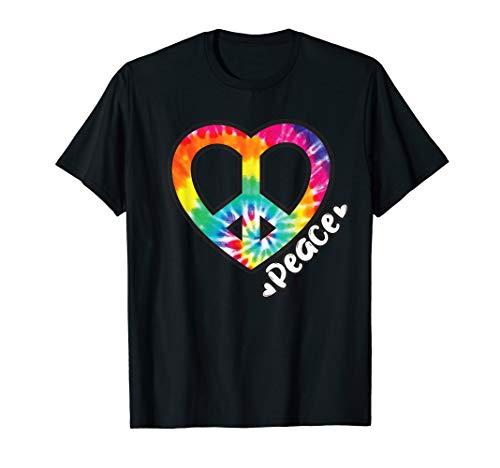 Peace Tie Dye Shirt Vintage Heart Hippie Retro Groovy Gift T-Shirt ()