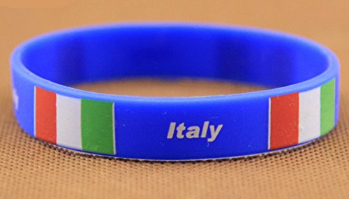 Italy Wrist Band Flag Logo Fans Silicone Wristband ID Bracelet Bangle Souvenir Gift. 2018 World Cup - Great Gift For Men & Women, Him or Her