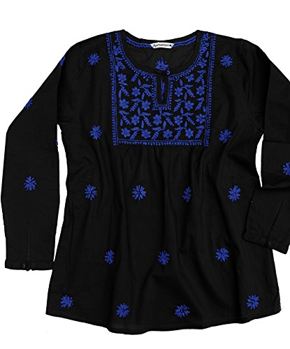 Ayurvastram Pure Cotton Hand Embroidered Boho Peasant Blouse Top Tunic – M: Body Chest 36.5 inches, Blue Embroidery on black