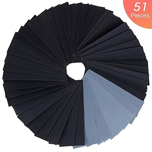 (Vastar 51Pcs Sand Paper - Sandpaper, 120/150/180/220/320/400/600/800/1000/1200/1500/2000/2500/3000, 9 x 3.6 Inch Wet Dry Sandpaper for Wood/Metals/Wall/Car Paint etc.)