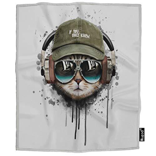 Mugod Cat Listening Music Blanket Animal Kitten Wears Glasses Hat Headphone Fuzzy Soft Cozy Warm Flannel Throw Blankets Decorative for Adults Kids Women Men Girls Boys 60x80 Inch