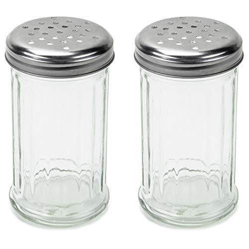 SET OF 2 - 12 Oz. (Ounce) Multi-Purpose Spice Seasoning Grated Cheese Shaker Retro Dispenser, Glass Jar, Perforated Stainless Steel Lid
