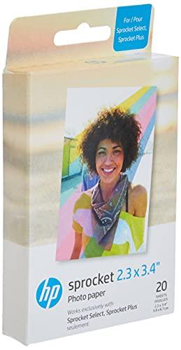 HP 2FR23A Papel fotográfico Zink Premium de 5,8 x 8,6 cm (20 hojas), compatible con Sprocket Select y Plus.