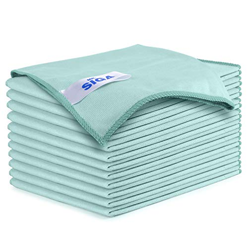 "MR.SIGA Ultra Fine Microfiber Cloths for Glass, Pack of 12, 35 x 40cm 13.7"" x 15.7"""