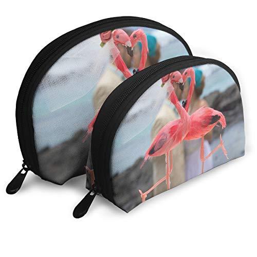 Makeup Bag Flamingo Wedding Portable Shell Makeup Case For Girlfriend Halloween Gift 2 Pack -
