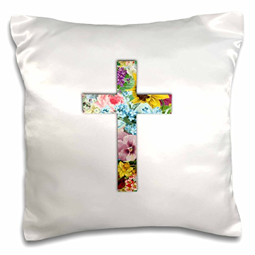 3D Rose Floral Christian Cross Colorful Girly Flower Pattern Religious Symbol Pillow Case 16