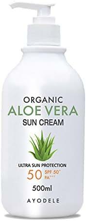 Ayodele Aloe Vera Organic SPF50+ PA+++ Body and Face Sunscreen 16.9 oz