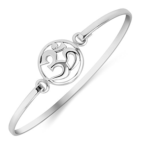 Chuvora 925 Sterling Silver Open Yoga Om, Ohm, Aum, Sanskrit Round Openable Hook Bangle Bracelet 7.5