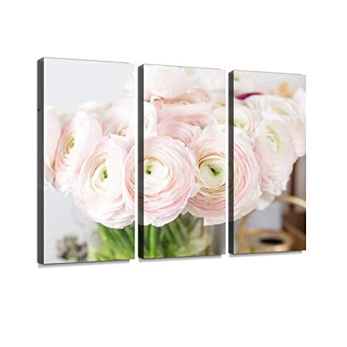 Persian buttercup. Bunch pale pink ranunculus flowers light. Glass vase. Wallpaper Wall Art Painting Pictures Print On Canvas Stretched & Framed Artworks Modern Hanging Posters Home Decor 3PANEL