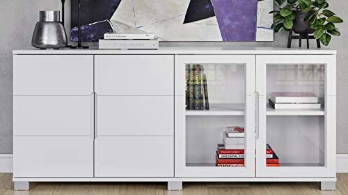 Hayes Modern Cabinet – White with Glass Doors
