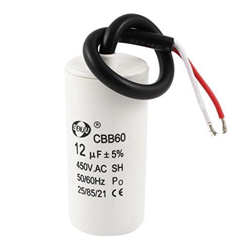 DealMux AC 450V 12UF Wire Rondella elettrolitico Motor Capacitor Bianco DLM-B018K2S11Y