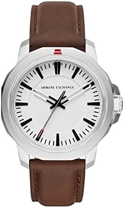Armani Exchange Men s Stainless Steel Analog-Quartz Watch with Leather Calfskin Strap, Brown, 22 Model AX1903