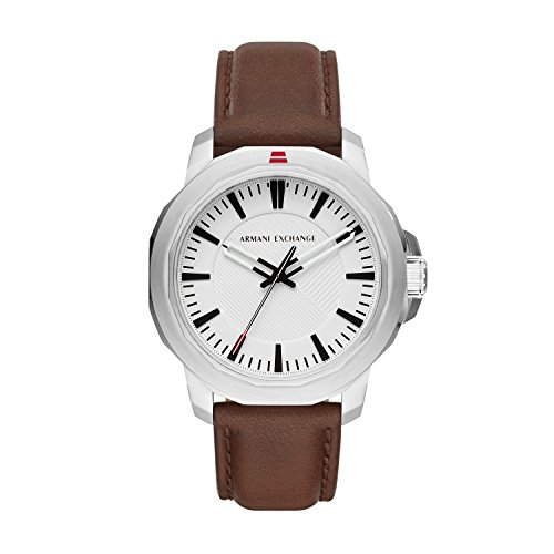 Armani Exchange Men's Quartz Stainless Steel and Leather Casual Watch, Color:Brown (Model: AX1903)
