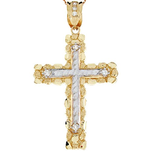 (10k Two Tone Gold Diamond Cut Nugget Cross Religious Large CZ Pendant)