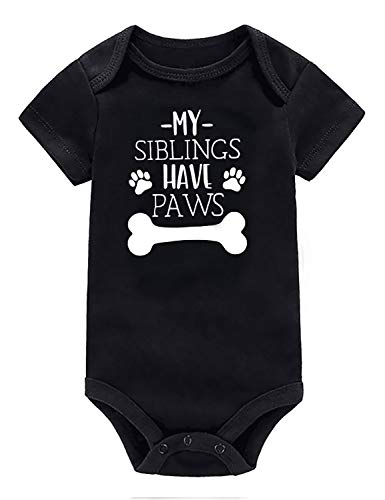 Floral Monogram Printed Baby Newborn Clothes 90s Formal Cozy One Piece Outfits Bodysuit Monochrome Animal Prints My Siblings Have Paws Retro Short Sleeve Shirt for Twins Babies Boys Girls ()