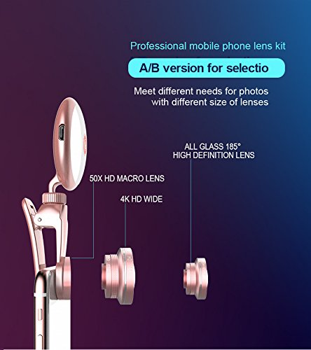 Selfie Light with iPhone Camera Lens,Yomiro 360° LED Flsh Light + 4K HD Wide Angle Lens + 185° Fisheye Lens + 50X Macro Lens, Rechargeable Clip On Selfie Light For Phone, iPhone, iPad, Samsung Gal by Yomiro (Image #4)