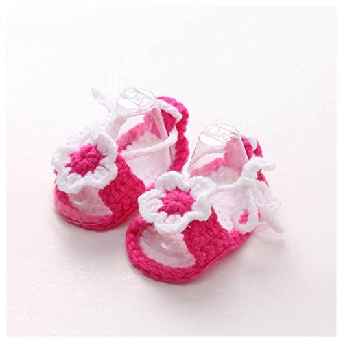 Crib Shoes,Vanvler Handmade Crochet Casual Baby Girls Knit Sock Flower Infant Comfortable Handicraft (hot Pink Daisy)
