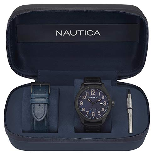 Nautica Men's Hawser Stainless Steel Quartz Sport Watch with Leather Calfskin Strap, Blue, 22 (Model: NAPHAS001)