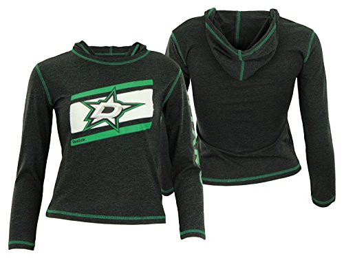 Star Long Sleeve Youth - Outerstuff NHL Youth Girls Dallas Stars Long Sleeve Jersey Hoodie, Charcoal Large (14)