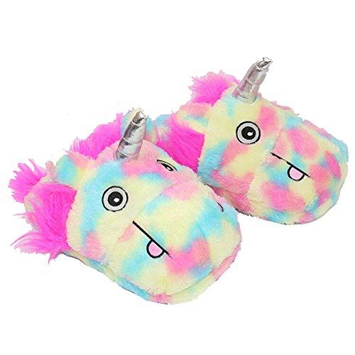 ecb2f50318f good Women s Teen Girls Rainbow Plush Warm Unicorn Slippers ...