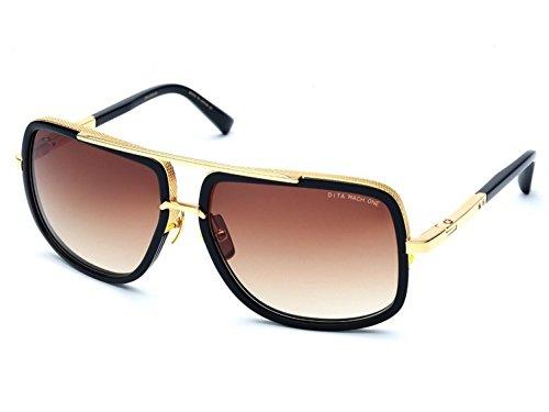 Sunglasses Dita MACH ONE DRX 2030 B Shiny 18K Gold-Black w/D.Brown to - Mach Sunglasses Dita One