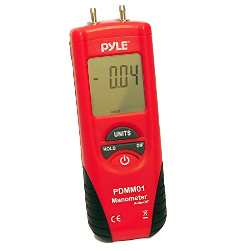 PYLE Meters Digital Manometer - 11 Unit of Pressure Measurement Maximum 10 PSI Data Hold and Error Code Measure Gauge Differential Gas Tester - Large LCD Backlit Dual Display w/ Auto Power Off PDMM01 from Pyle